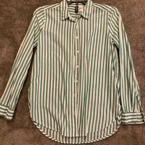 Green striped button up shirt